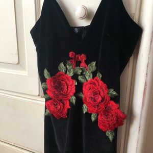 Missguided Dresses - Sexy velvet black dress with rose detail in front